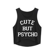 63235bbc718 CUTE BUT PSYCHO Letters Print Slim Fit Women T Shirts Funny Top Tee Crop  Tops Teen Shirts Summer Fashion Causal Sleeveless Top