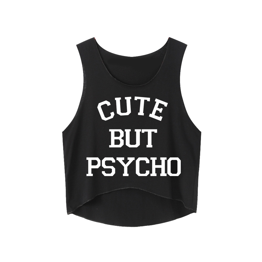 CUTE BUT PSYCHO Letters Print Slim Fit Women T Shirts Funny Top Tee Crop Tops Teen Shirts Summer Fashion Causal Sleeveless Top