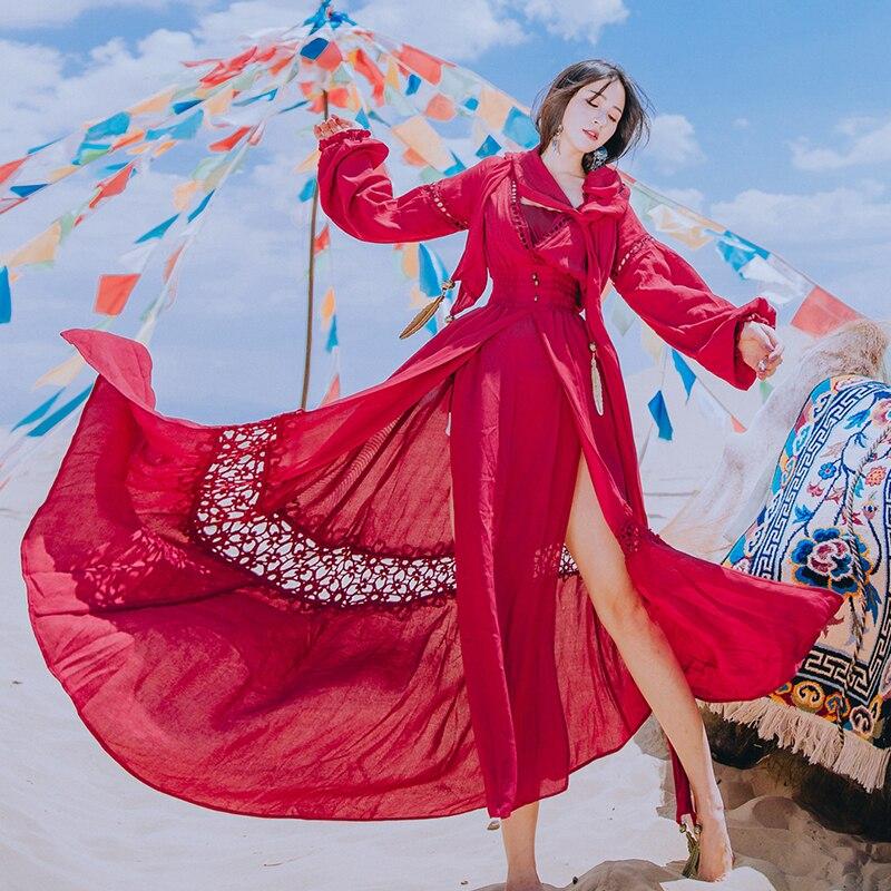 V Manicotto Lunghe Cotone Abito Del Spring Della Rosso Con Deserto New Lino Fashion Donne A Lanterna Turismo Di Red Femminile Ultra Vestito 2018 Wine Scollo Vintage 5vq8BUwzZx