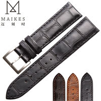MAIKES Factory Direct Sale Price Genuine Leather Men Women Watch Strap Stainless Steel Buckle Black Watch