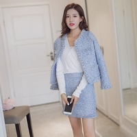 Autumn Winter women Sexy Tweed suits Fashion tops+skirts 2 piece sets female Beaded woolen coat Elegant skirts sets Women's Set