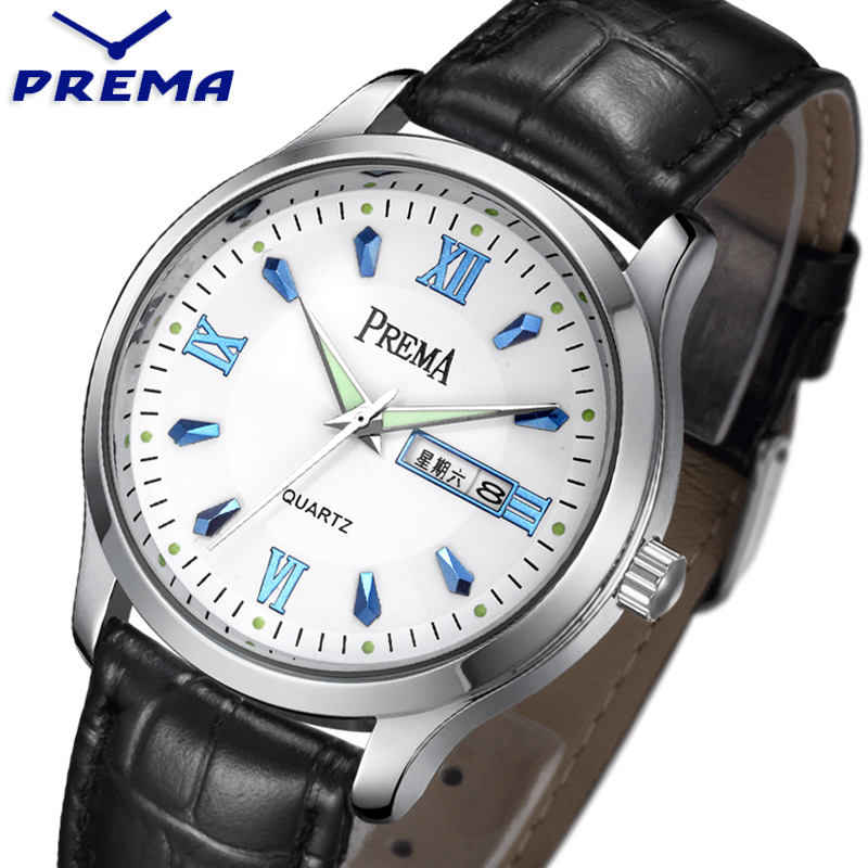 PREMA Mens Watch with Week Day Calendar Steel simple White Dial Leather Band Back Light Automatic Fashion Casual Watches zоом 3 day white with acp excel 3