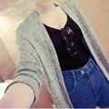 2016 Nova Moda Das Mulheres Coreanas Cor Sólida Solto Cardigan Sweater Ar condicionado Tops Hot Sale C155