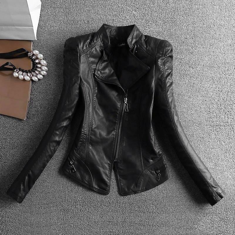 Pu Faux Manches Stand Collar Veste Col Avec Réel Manteau Mince Cuir Zipper De brown Pleine no Ol Lavé Collar Épais Femelle Noir Automne Hiver Collar Fourrure Black Fur PTRWpqt0I