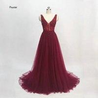 Vestido de noiva Burgandy вечернее платье 2018 длинные блестящие вечерние платья 2018 элегантное платье для выпускного прозрачное с высоким разрезом и отк