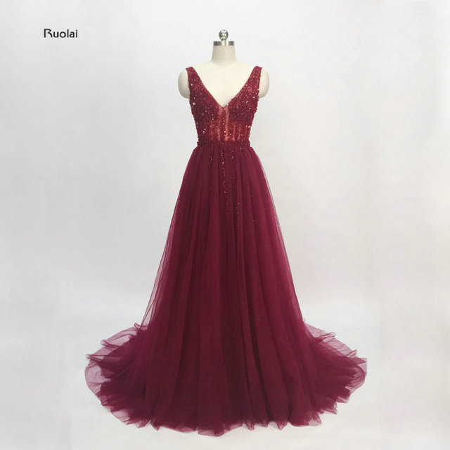 vestido de noiva Burgandy Evening Dress 2018 Long Sparkly Party Dresses 2018 Elegant Prom Dress See Through High Split Open Back