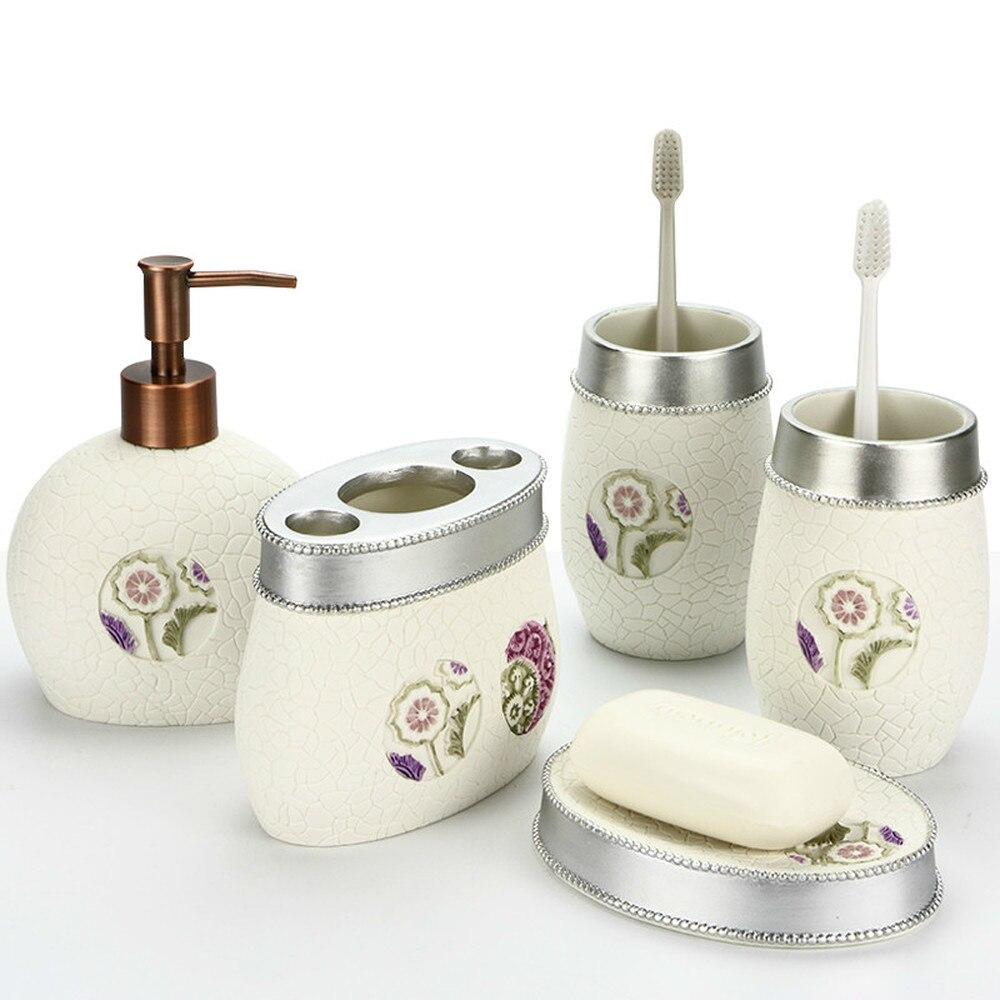 European Resin Bathroom 5 Piece Set Bathroom Cup Set Wedding Wash Set lo83147 simple bathroom ceramic wash four piece suit cosmetics supply brush cup set gift lo861050