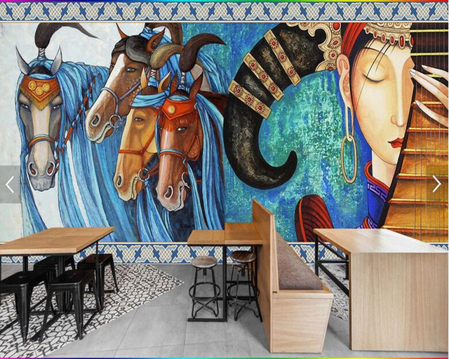 Awesome Custom Horse Wallpaper, Vintage Ethnic Style Murals For Living Room Bedroom  Restaurant Background Wall Home