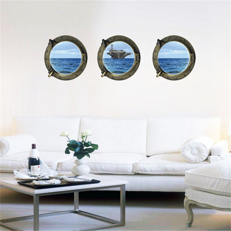 1 Set 3Pcs 3D Removable Wall Sticker Seaview Ship For Chidren Room Living Room Bedroom Home Decoration