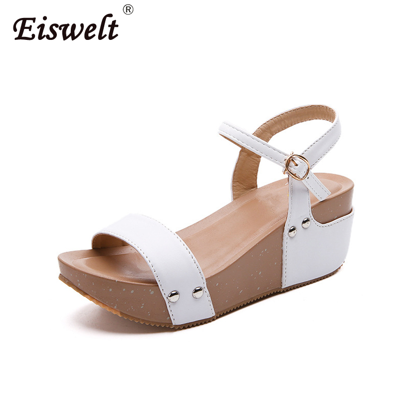 EISWELT 2018 Women Sandals White Flat Sandals Wedges Heel Sommar - Damskor - Foto 1