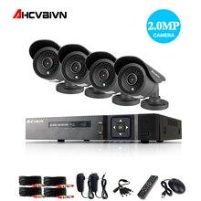 4CH 1080P Surveillance AHD DVR Kits 4PCS 2.0MP 3000TVL IR Night Vision Waterproof Security Camera Video CCTV System