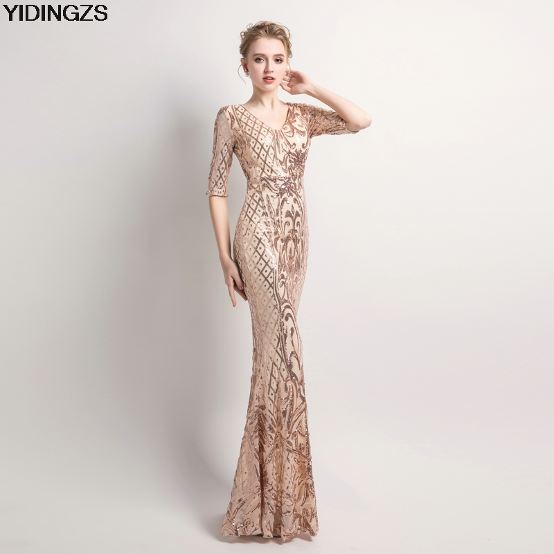 YIDINGZS Women's Elegant Mermaid Gold Sequins Dress Half Sleeve Evening Dress Party Long Prom Dress plaid long sleeve belted midi dress