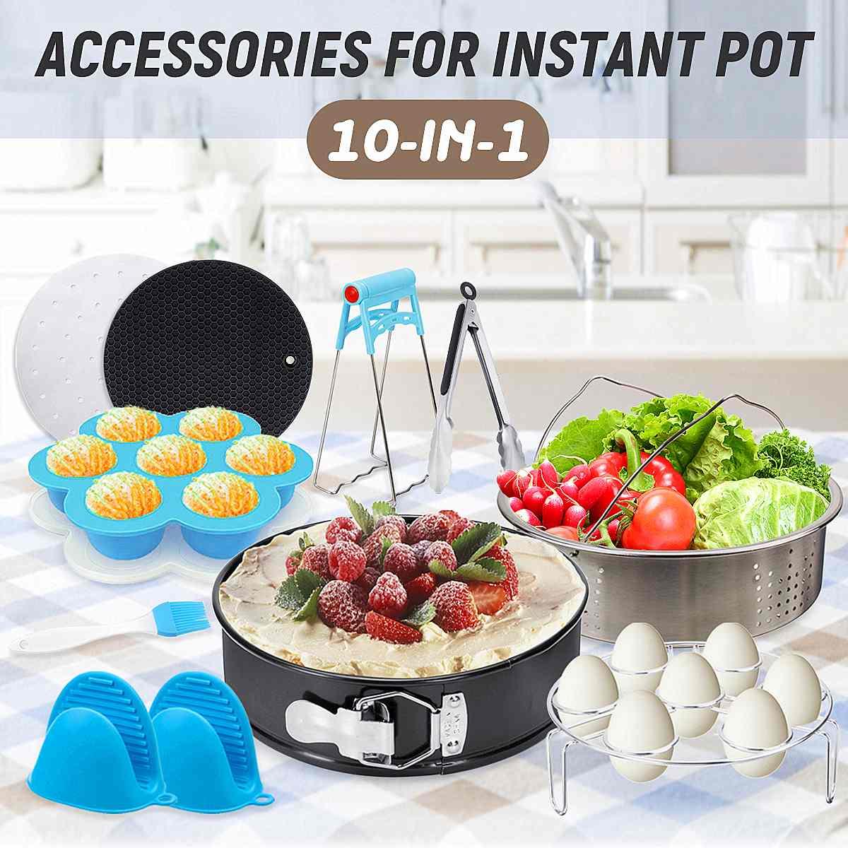 New 10Pcs Instant Pot Accessories Set Electric Pressure Cooker Accessories Parts Steamer Basket Springform Pan Silicone Mat Kit