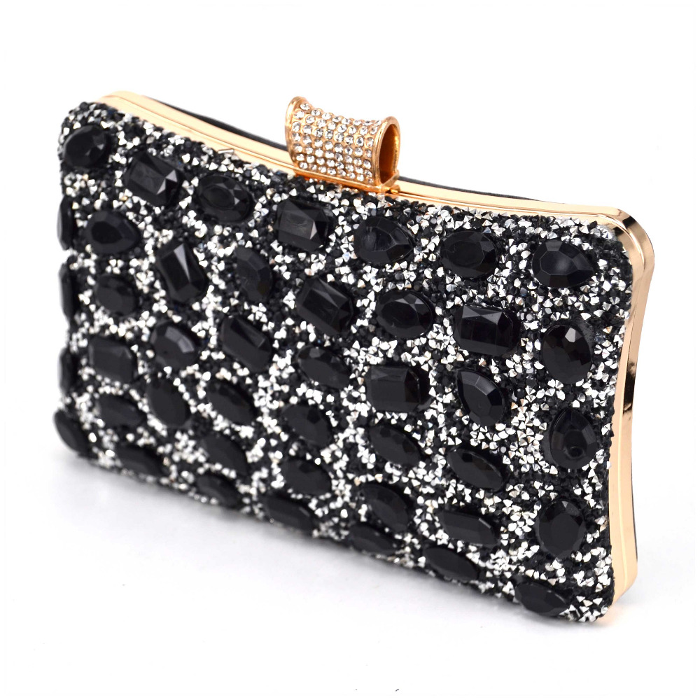 Fashion Shine Stone Evening Bag Wedding Soiree Bridal Silver Black Clutch Purse With Chain Handbags Female Pochette Packet In Clutches From Luggage