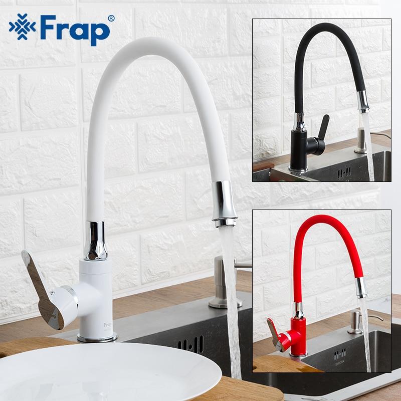 FRAP robinet de cuisine blanc noir cuisine évier robinet mitigeur rouge mitigeur flexible eau froide et chaude robinet pont monté