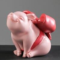 Creative Home Decoration Art Resin Pig Sculpture Fairy Tale Animal Figurine Pig Statue Office Desk Decor Accessory