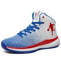 새로운 스타일 농구 신발 남자 소년 농구 부츠 라이트 높은 발목 Zapatillas 드 Baloncesto 야외 플러스 사이즈 망 스니커즈