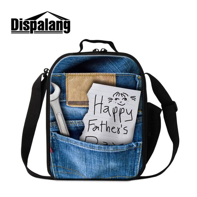 """Dispalang diseña nuevamente """"feliz Día del Padre"""" impresión térmica gruesas bolsas de almuerzo aislados bolsa de frío para los adolescentes denim bolsas de alimentos"""