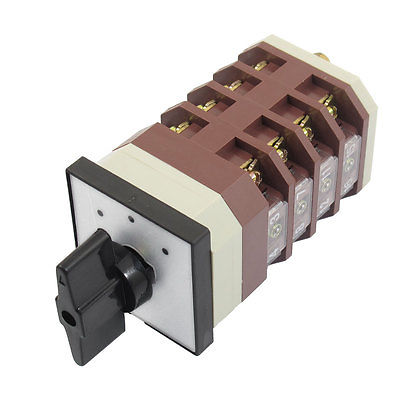 AC 380V 16A 3 Positions 4NO+4NC Latching Rotary Universal Changeover Switch ac 500v 16a 4 positions universal rotary cam changeover switch lw5d 16yh3 3
