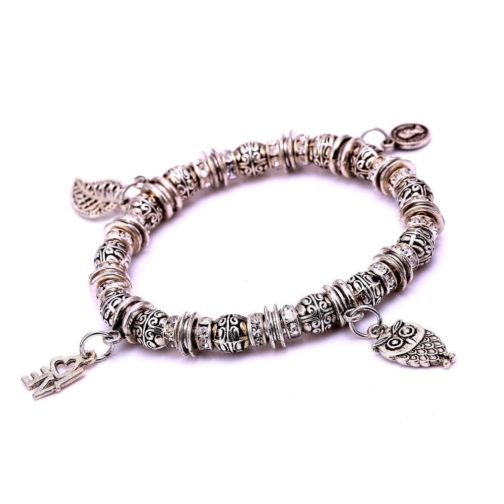 Exquisite European Accessory Metal Bracelet Crystal Invisible Setting Owl Leaf Love Figure Pendant Bangle