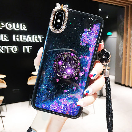 High Quality Bling Diamond Stand Phone <font><b>Cases</b></font> For <font><b>Samsung</b></font> S7 S8 S9 S10 Plus Note10 9 8 Liquid Quicksand Shiny PC Glitter <font><b>Case</b></font> image
