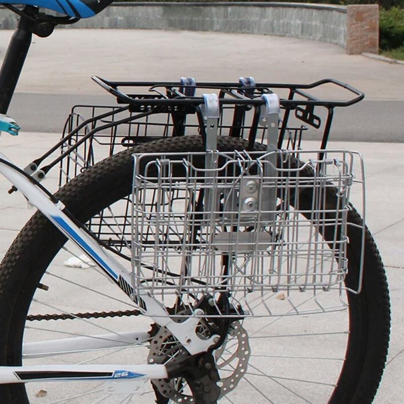 Cesta Bicicleta Cesta Delantera//Trasera Grande For Bicicleta Cesta For Bicicleta con Tornillos Cesta Plegable For Alambre De Bicicleta Soporte Desmontable Estante De Metal Accesorio For Bicicleta