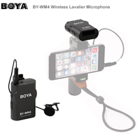BOYA BY WM4 Wireless Condenser Lavalier Microphone System Video Mic for Canon Nikon Sony A7 GH5 DSLR Camera Smartphone iPhone