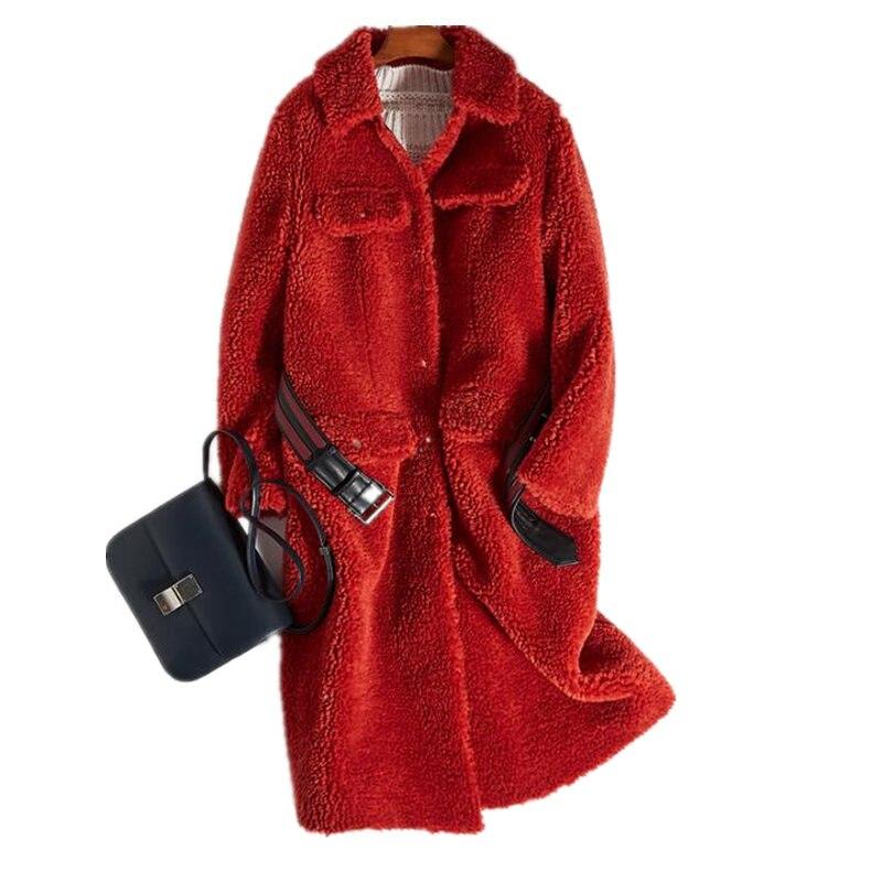 Long Femmes Chaud Yolanfairy À Fourrure Red Parkas Mujer Manteau Automne Hiver Des Épais Top Mf574 Tonte Vestes Moutons Slim Véritable Qualité IWEDH2eb9Y