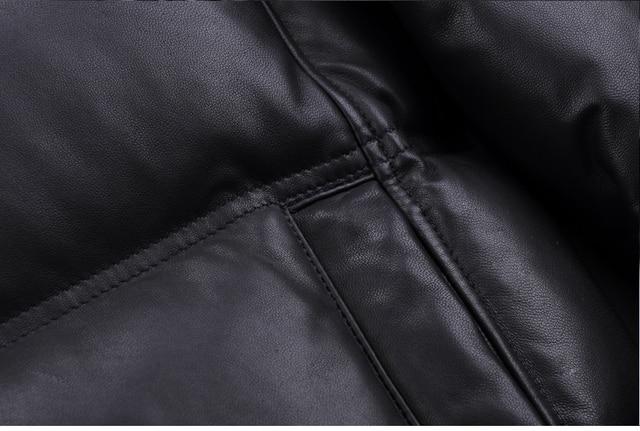 YOLANFAIRY Geniune Leather Jacket Men Sheepskin Leather Goose Down Coat Quality Winter Warm Thick Plus Size 5XL Outwear MF381 3