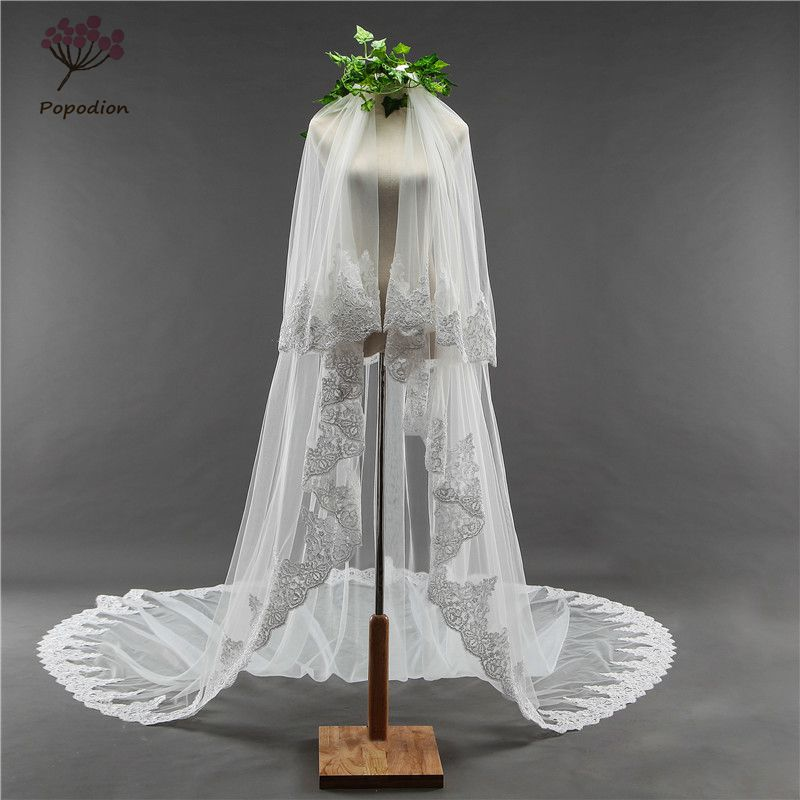 Cover face 3 5 meter long wedding veil white lace appliques 2 layers wedding veil bridal