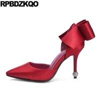Sandals Rhinestone Satin Red Bride Bridal Shoes Wedding 2017 High Heels Pointed Toe Bow Silk Ladies