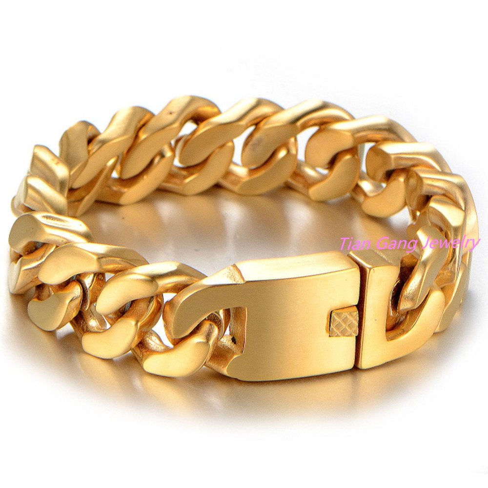 23cm 20mm Cool Fashion High Quality Stainless Steel Pop Punk Rock Style Round Chain Link Bracelet Men Jewelry