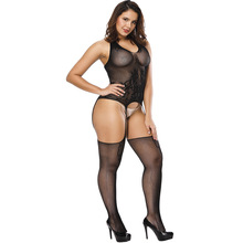 European and American sexy underwear black back hollow open-end net jacquard
