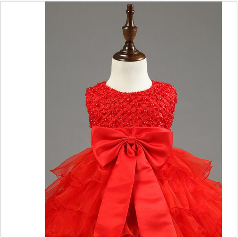 2016 Baby Girls Red Formal Dresses Pearl Lace Cake Dresses For 1