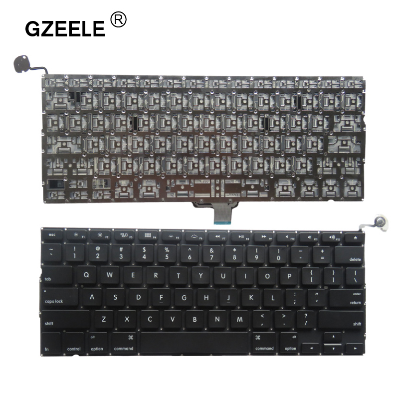 GZEELE New 2009 2010 2011 2012 Year A1278 Laptop US English Keyboard For Macbook Pro A1278 Keyboard Layout Replace Without Frame
