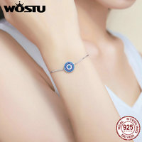 WOSTU New Luxury Real 925 Sterling Silver Blue Lucky Circle Chain Bracelet For Women Fashion Jewelry