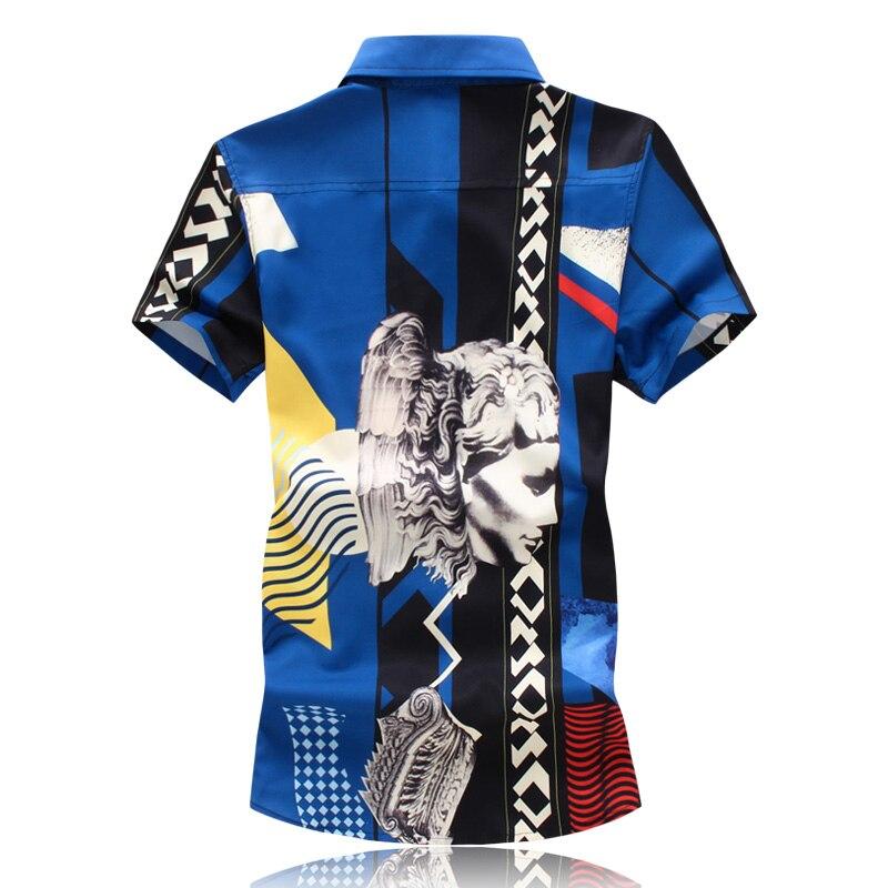 Short Sleeve Shirt Printed Mens Shirts Slim Fit Casual Fancy Social Brand Clothing Plus size M-5XL Summer 2018