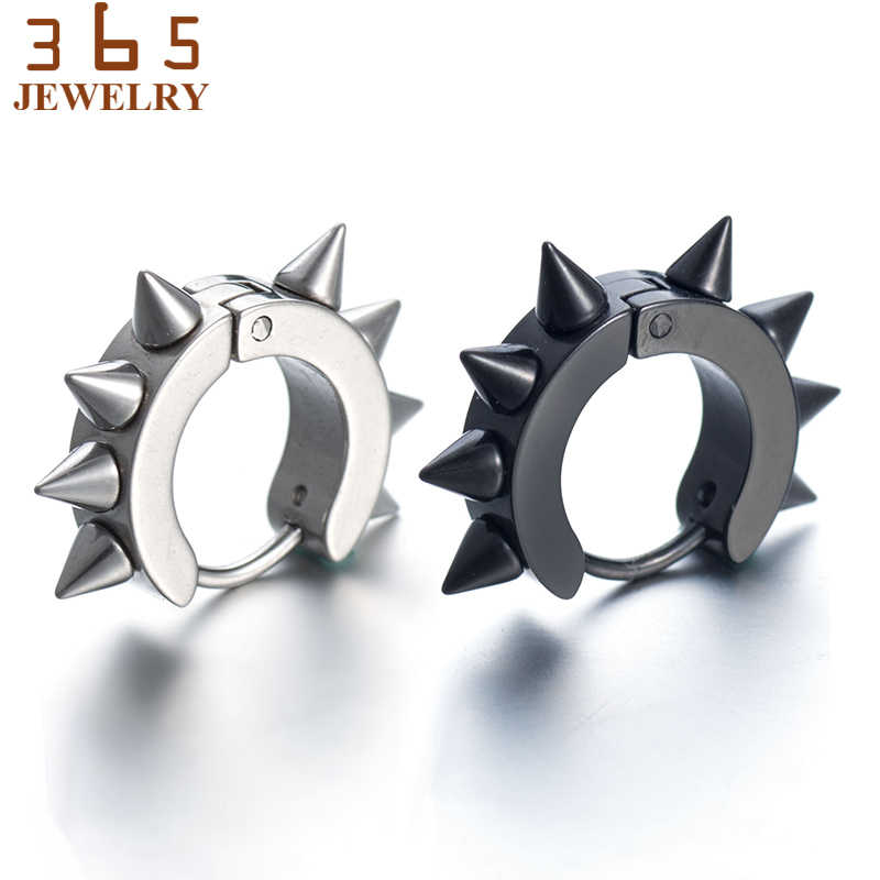 643e823e3 ... Fashion Mens Jewelry Retro Rock Punk Stainless Steel Stud Earrings  Gothic Nail Taper Spike Ear Studs ...