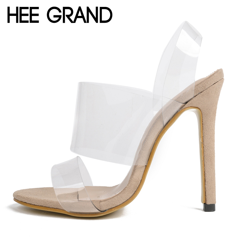 HEE GRAND Sexy Thin High Heels 2017 Transparent Gladiator Sandals Platform Casual Shoes Woman Summer Slip On Pumps XWZ4160 hee grand 2017 gladiator sandals gold silver shoes woman summer platform wedges glitters high heels casual women shoes xwz4018