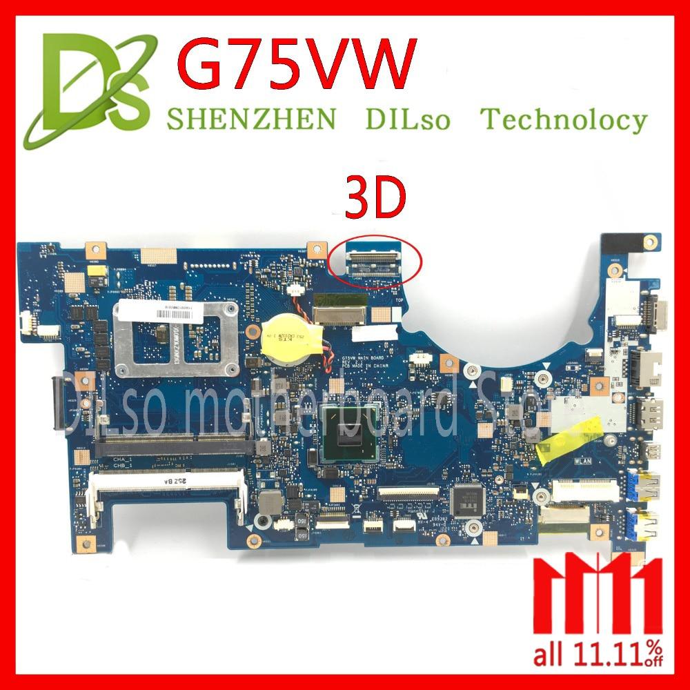 KEFU G75VW 3D for ASUS G75VW G75V G75VX support 3D connector laptop motherboard 100% test work original