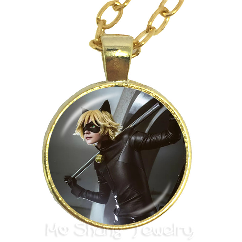 Fashion Cartoon Miraculous Ladybug Cat Noir Necklace Jewelry Class Dome Time Sweater chain For Kids Christmas Gift