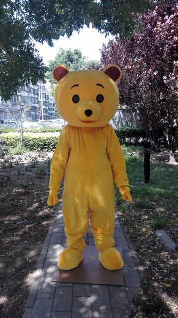 Orso giallo costume della mascotte formato adulto personaggio dei
