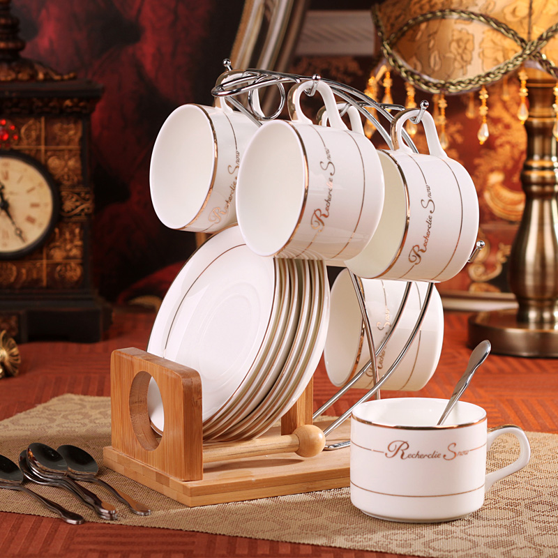 Tea Sets Fashion Bone China Coffee Cup Set D Angleterre Black And Saucer Belt Wooden Stand Spoon Ceramic In Mugs From Home Garden