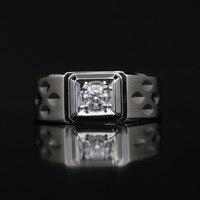 LASAMERO кольца для мужчин 0.227CT круглая огранка кольцо с натуральным бриллиантом 18 к белое золото обручальное свадебное кольцо
