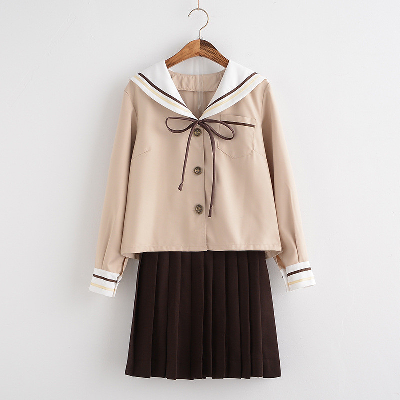New Japanese/Korean Cute Girls Sailor suit Student School Uniforms Clothing Outfits Short/Long Shirts+Skirt+Ties Sets