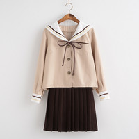 New Japanese Korean Cute Girls Sailor Suit Student School Uniforms Clothing Outfits Short Long Shirts Skirt
