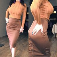 2016 Elastic Waist High Waist Midi Skirt Bodycon Women White Pencil Skirt With Full Length Back