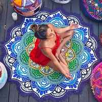 Tapisserie indienne multifonctionnelle avec gland Lotus imprimé serviette de plage tenture murale tapis de Yoga Bikini couverture décoration de la maison