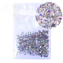 Mix Sizes 1000PCS/Pack Crystal Clear AB Non Hotfix Flatback Rhinestones Nail Rhinestones For Nails 3D Nail Art Decoration Gems(China)