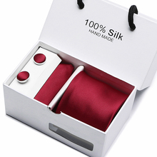 7.5cm  Ensemble wine red Paisley Man Tie, Handkerchief and Cufflinks Gift Box Packing Set For Wedding Party